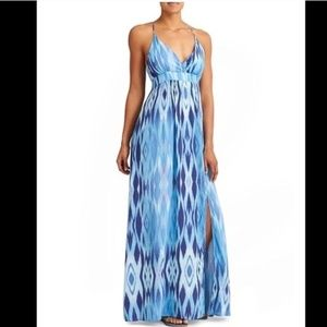 Athleta M Blue Sunset Halter Shelf Bra Maxi Dress